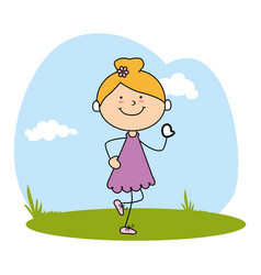 cute little girl character on field vector image
