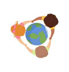 cute little kids holding hands around globe vector image
