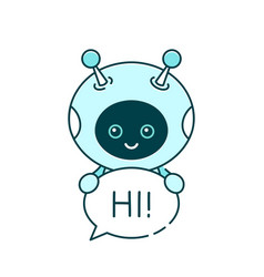 cute smiling robotchat bot say vector image