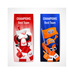 Fan sport banners vertical set vector