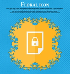 File unlocked icon sign Floral flat design on a vector