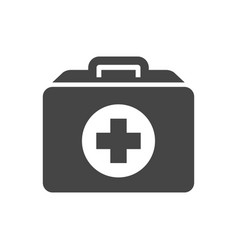 first aid kit with cross bold black silhouette vector image