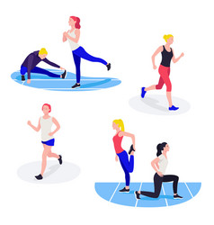 fit women exercising young females athletes doing vector image