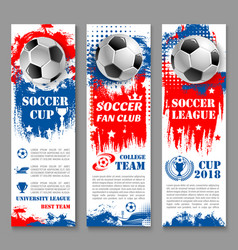 Football sport game banner of soccer ball trophy vector