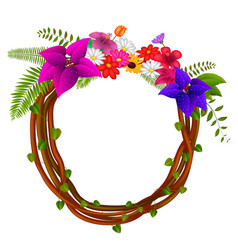 frame of roots and flowers vector image