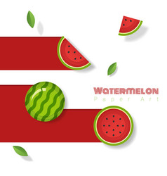 Fresh watermelon fruit background paper art style vector