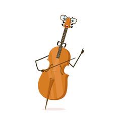 Funny cello string musical instrument cartoon vector