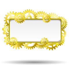 gear realistic golden frame vector image