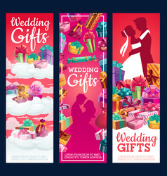gifts on wedding day bride and groom couple vector image