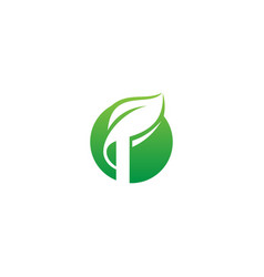 green leaf nature organic icon logo vector image