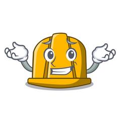 Grinning construction helmet character cartoon vector