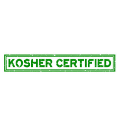 Grunge green kosher certified word square rubber vector