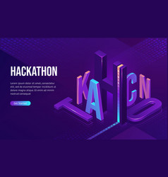 hackathon isometric landing software development vector image