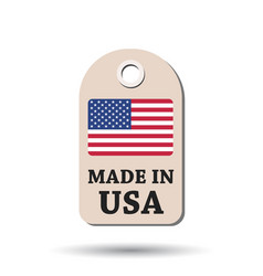 hang tag made in usa with flag on white background vector image