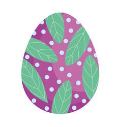 Happy easter decorative egg leaf dots ornament vector