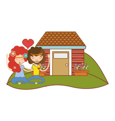 hippie couple in love vector image
