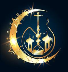 Hookah golden crescent moon and minaret vector