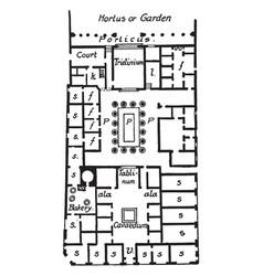 house pansa pompeii plan vintage engraving vector image