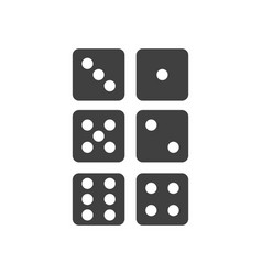 Icons of the six sides of the game dice vector