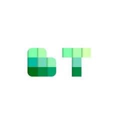 initial letters bt b t pixel brick logo design vector image