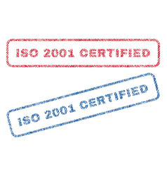 iso 2001 certified textile stamps vector image