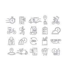large collection 20 different delivery icons vector image