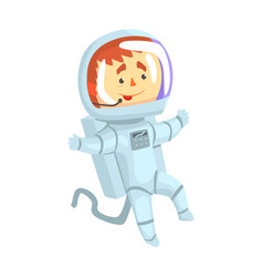 Male cosmonaut or astronaut in a white space suit vector