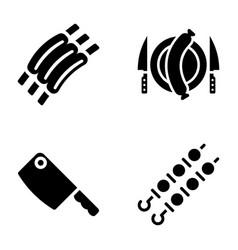 Meat glyph icons collection vector