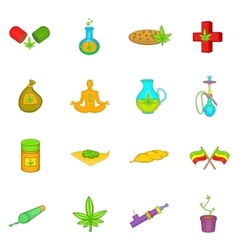 Medical marijuana icons set cartoon style vector