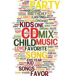 Mix cd a unique kids birthday party favor text vector
