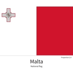National flag malta with correct proportions vector