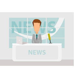 News anchorman in breaking and tv layout vector
