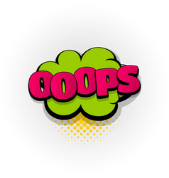 Oops ouch comic book text pop art vector