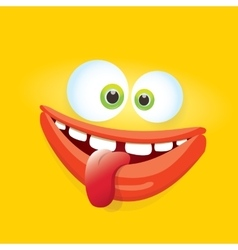 orange funny comic monster face vector image