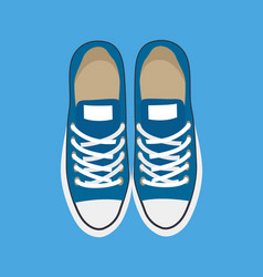 pair casual sneakers isolated on blue backdrop vector image