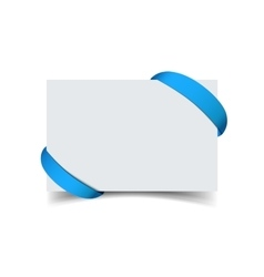 Paper greeting card with curved blue gift ribbon vector