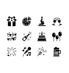 party icon set glyph style symbols for website vector image