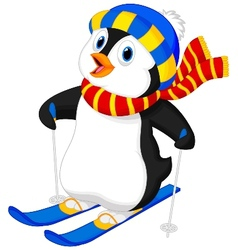Penguin cartoon skiing vector