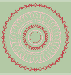 pink simple mandala on a green background vector image