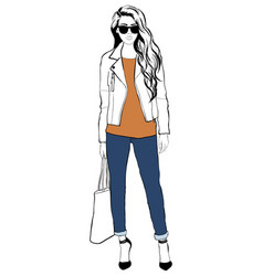 portrait of a fashion young beautiful stylish vector image