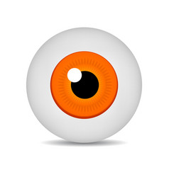 realistic 3d orange eyeball isolated on white vector image
