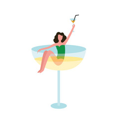 Retro bar symbol a woman in cocktail glass flat vector