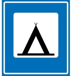 Road Blue Camping Sign vector