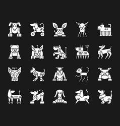 Robot dog white silhouette icons set vector