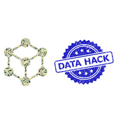 Scratched data hack stamp seal and military vector