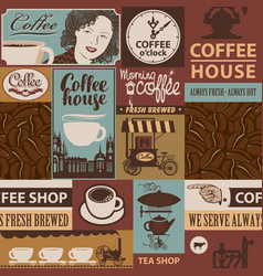 seamless pattern on theme coffee houses vector image