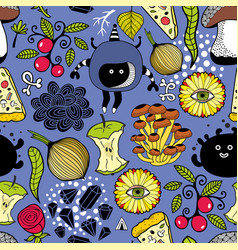 seamless pattern with cute monsters and food vector image