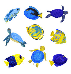 Set exotic fish on white vector