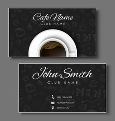 Set of black business cards for coffee shops vector