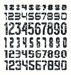 Set of sport numbers with shabby texture vector